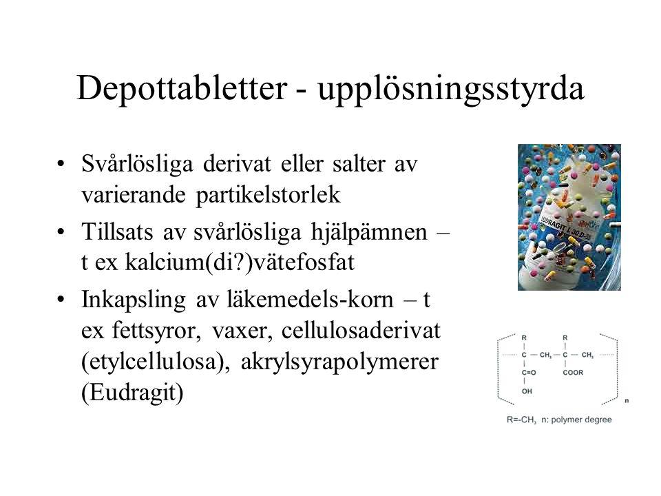 Depottabletter - upplösningsstyrda Svårlösliga derivat eller salter av varierande partikelstorlek Tillsats av svårlösliga hjälpämnen – t ex kalcium(di