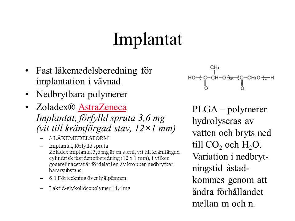 Implantat Fast läkemedelsberedning för implantation i vävnad Nedbrytbara polymerer Zoladex® AstraZeneca Implantat, förfylld spruta 3,6 mg (vit till krämfärgad stav, 12×1 mm)AstraZeneca –3 LÄKEMEDELSFORM –Implantat, förfylld spruta Zoladex implantat 3,6 mg är en steril, vit till krämfärgad cylindrisk fast depotberedning (12 x 1 mm), i vilken goserelinacetat är fördelat i en av kroppen nedbrytbar bärarsubstans.