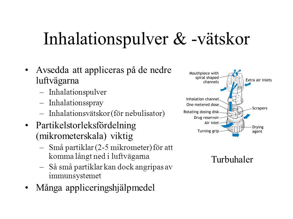 Inhalationspulver & -vätskor Avsedda att appliceras på de nedre luftvägarna –Inhalationspulver –Inhalationsspray –Inhalationsvätskor (för nebulisator) Partikelstorleksfördelning (mikrometerskala) viktig –Små partiklar (2-5 mikrometer) för att komma långt ned i luftvägarna –Så små partiklar kan dock angripas av immunsystemet Många appliceringshjälpmedel Turbuhaler