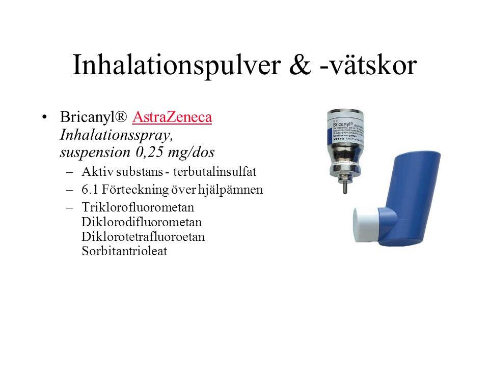 Inhalationspulver & -vätskor Bricanyl® AstraZeneca Inhalationsspray, suspension 0,25 mg/dosAstraZeneca –Aktiv substans - terbutalinsulfat –6.1 Förteckning över hjälpämnen –Triklorofluorometan Diklorodifluorometan Diklorotetrafluoroetan Sorbitantrioleat