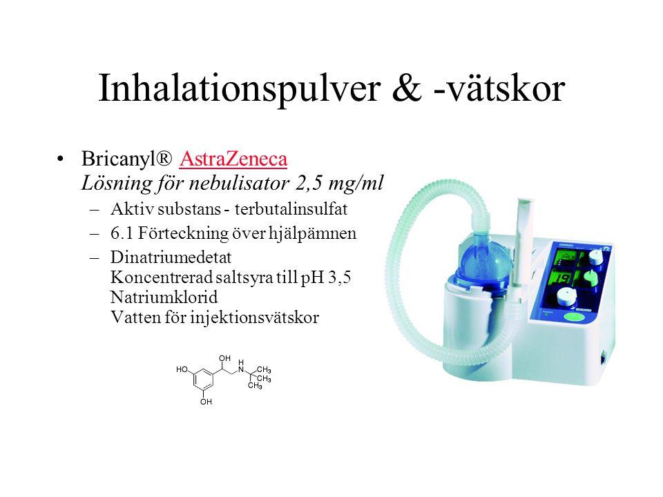 Inhalationspulver & -vätskor Bricanyl® AstraZeneca Lösning för nebulisator 2,5 mg/mlAstraZeneca –Aktiv substans - terbutalinsulfat –6.1 Förteckning över hjälpämnen –Dinatriumedetat Koncentrerad saltsyra till pH 3,5 Natriumklorid Vatten för injektionsvätskor