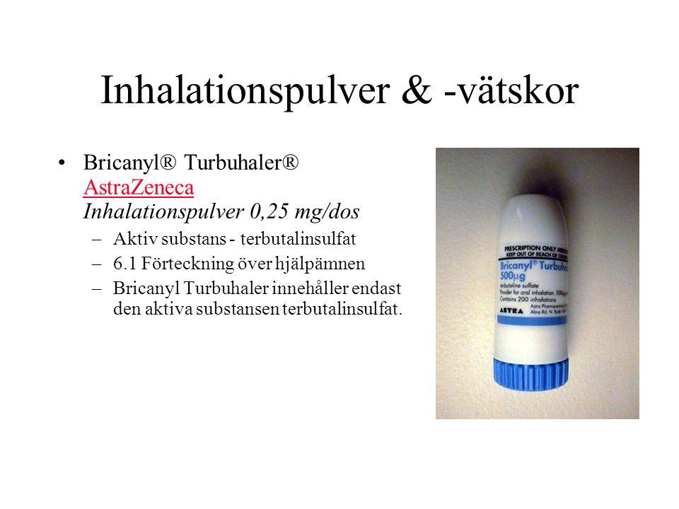 Inhalationspulver & -vätskor Bricanyl® Turbuhaler® AstraZeneca Inhalationspulver 0,25 mg/dos AstraZeneca –Aktiv substans - terbutalinsulfat –6.1 Förte