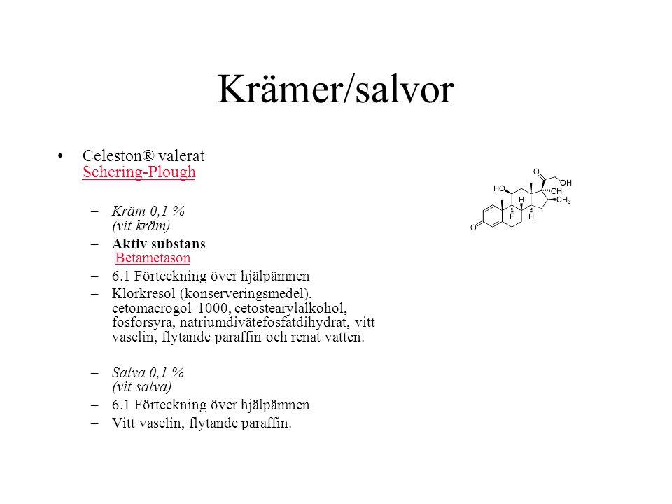 Krämer/salvor Celeston® valerat Schering-Plough Schering-Plough –Kräm 0,1 % (vit kräm) –Aktiv substans BetametasonBetametason –6.1 Förteckning över hj