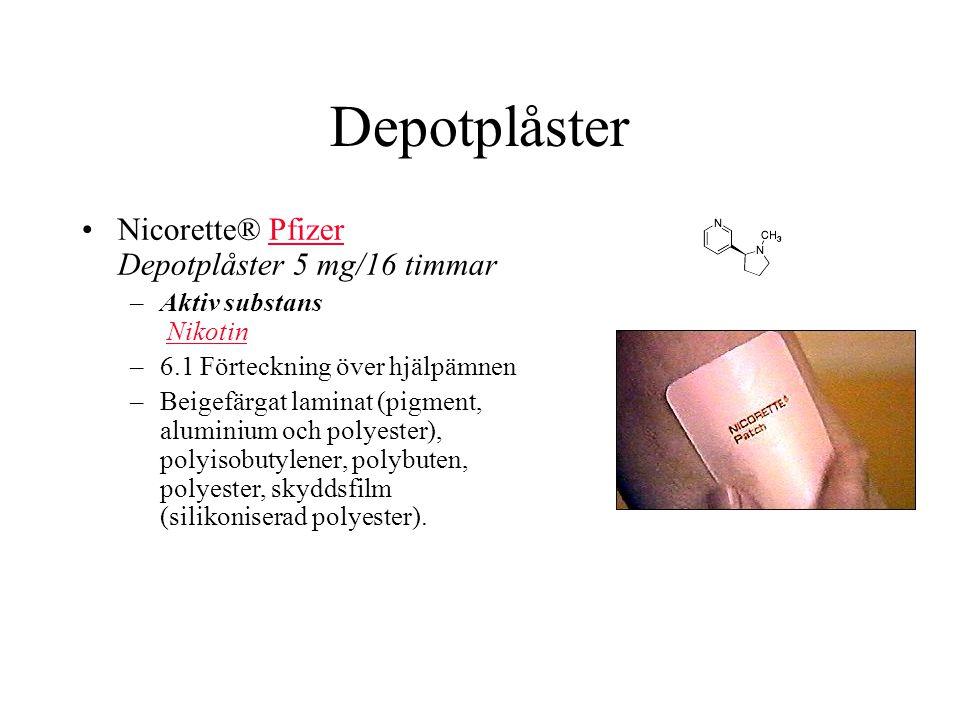 Depotplåster Nicorette® Pfizer Depotplåster 5 mg/16 timmarPfizer –Aktiv substans NikotinNikotin –6.1 Förteckning över hjälpämnen –Beigefärgat laminat