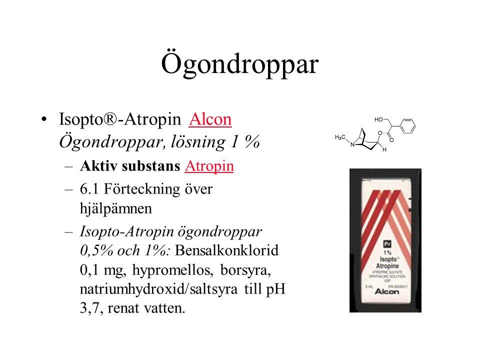 Ögondroppar Isopto®-Atropin Alcon Ögondroppar, lösning 1 %Alcon –Aktiv substans AtropinAtropin –6.1 Förteckning över hjälpämnen –Isopto-Atropin ögondroppar 0,5% och 1%: Bensalkonklorid 0,1 mg, hypromellos, borsyra, natriumhydroxid/saltsyra till pH 3,7, renat vatten.
