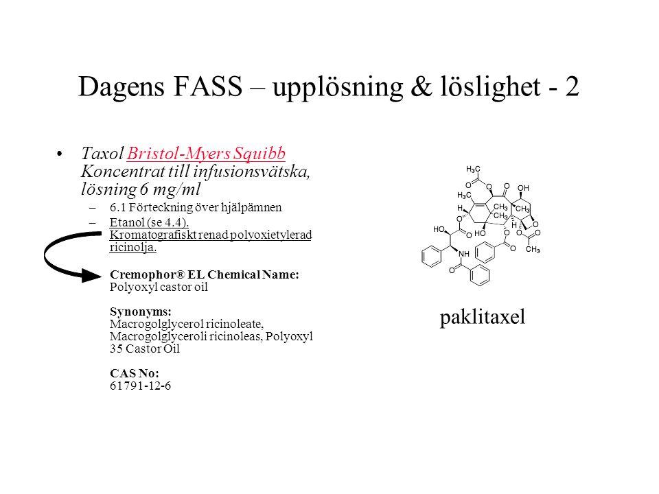 Dagens FASS – upplösning & löslighet - 2 Taxol Bristol-Myers Squibb Koncentrat till infusionsvätska, lösning 6 mg/mlBristol-Myers Squibb –6.1 Förteckning över hjälpämnen –Etanol (se 4.4).