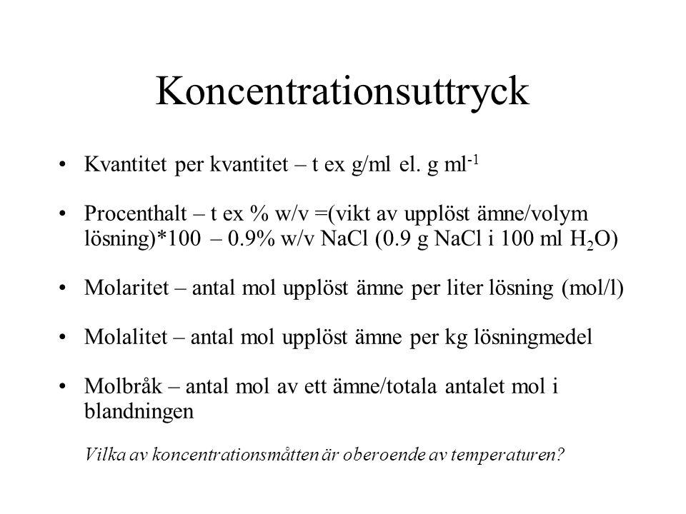 Koncentrationsuttryck Kvantitet per kvantitet – t ex g/ml el. g ml -1 Procenthalt – t ex % w/v =(vikt av upplöst ämne/volym lösning)*100 – 0.9% w/v Na