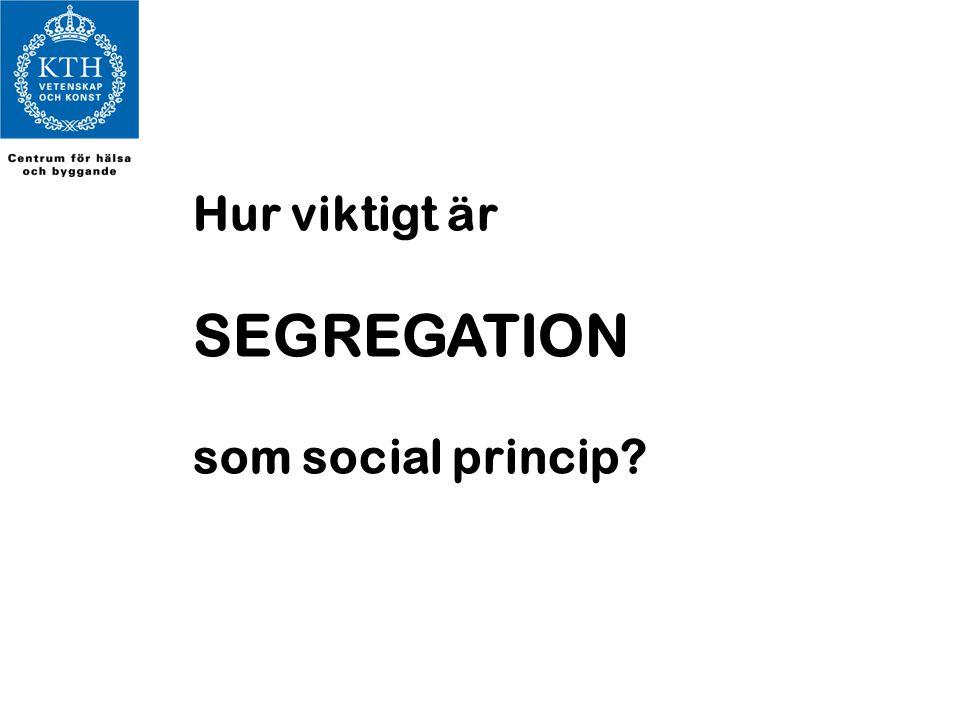 Hur viktigt är SEGREGATION som social princip?