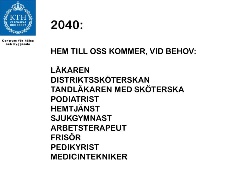 2040: HEM TILL OSS KOMMER, VID BEHOV: LÄKAREN DISTRIKTSSKÖTERSKAN TANDLÄKAREN MED SKÖTERSKA PODIATRIST HEMTJÄNST SJUKGYMNAST ARBETSTERAPEUT FRISÖR PED
