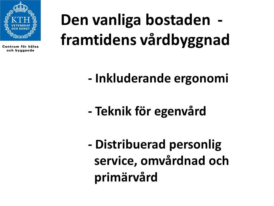 Den vanliga bostaden - framtidens vårdbyggnad - Inkluderande ergonomi - Teknik för egenvård - Distribuerad personlig service, omvårdnad och primärvård