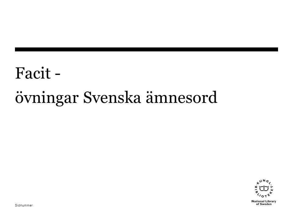 Sidnummer Facit - övningar Svenska ämnesord