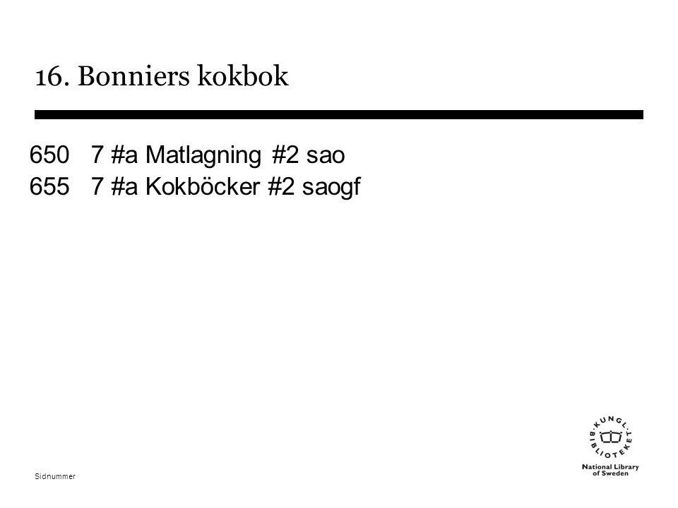 Sidnummer 16. Bonniers kokbok 650 7 #a Matlagning #2 sao 655 7 #a Kokböcker #2 saogf