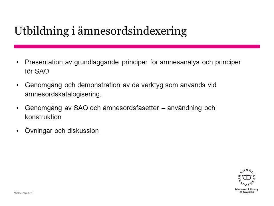 Sidnummer Databasen Svenska ämnesord 32