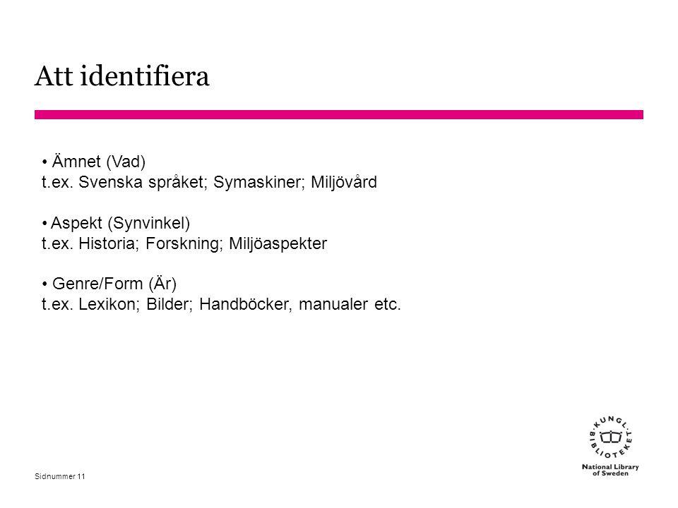 Sidnummer 11 Ämnet (Vad) t.ex. Svenska språket; Symaskiner; Miljövård Aspekt (Synvinkel) t.ex. Historia; Forskning; Miljöaspekter Genre/Form (Är) t.ex