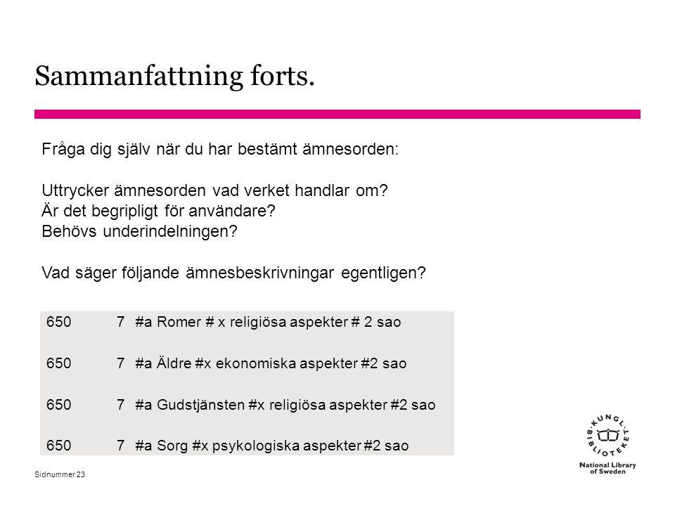 Sidnummer Sammanfattning forts. 23 Fråga dig själv när du har bestämt ämnesorden: Uttrycker ämnesorden vad verket handlar om? Är det begripligt för an