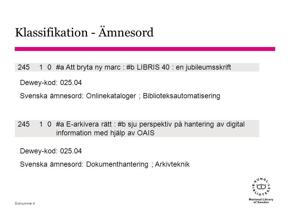 Sidnummer 4 24510#a Att bryta ny marc : #b LIBRIS 40 : en jubileumsskrift Dewey-kod: 025.04 Svenska ämnesord: Onlinekataloger ; Biblioteksautomatiseri