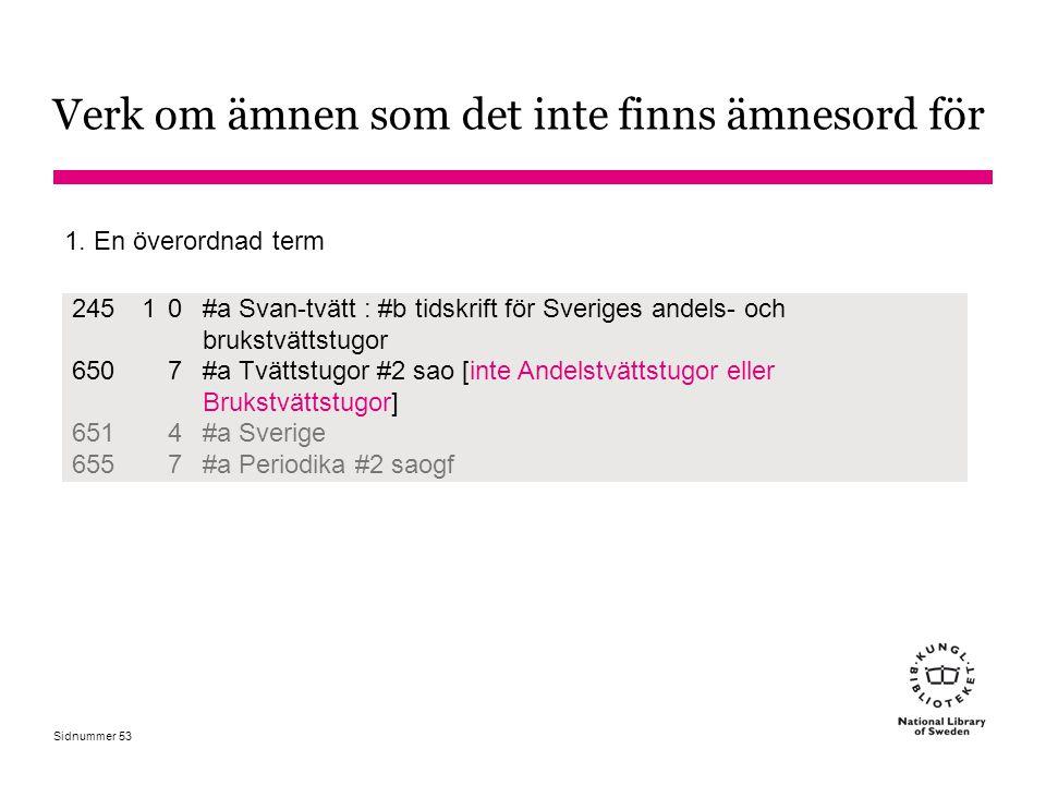 Sidnummer Verk om ämnen som det inte finns ämnesord för 24510 #a Svan-tvätt : #b tidskrift för Sveriges andels- och brukstvättstugor 6507 #a Tvättstug