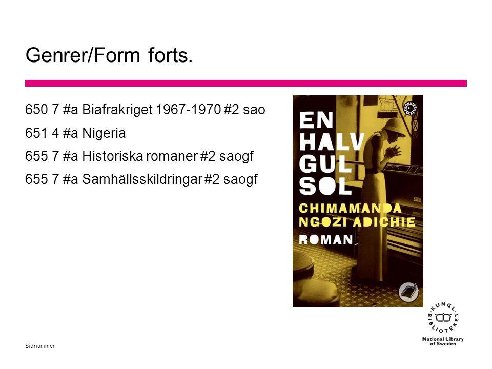 Sidnummer Genrer/Form forts. 650 7 #a Biafrakriget 1967-1970 #2 sao 651 4 #a Nigeria 655 7 #a Historiska romaner #2 saogf 655 7 #a Samhällsskildringar