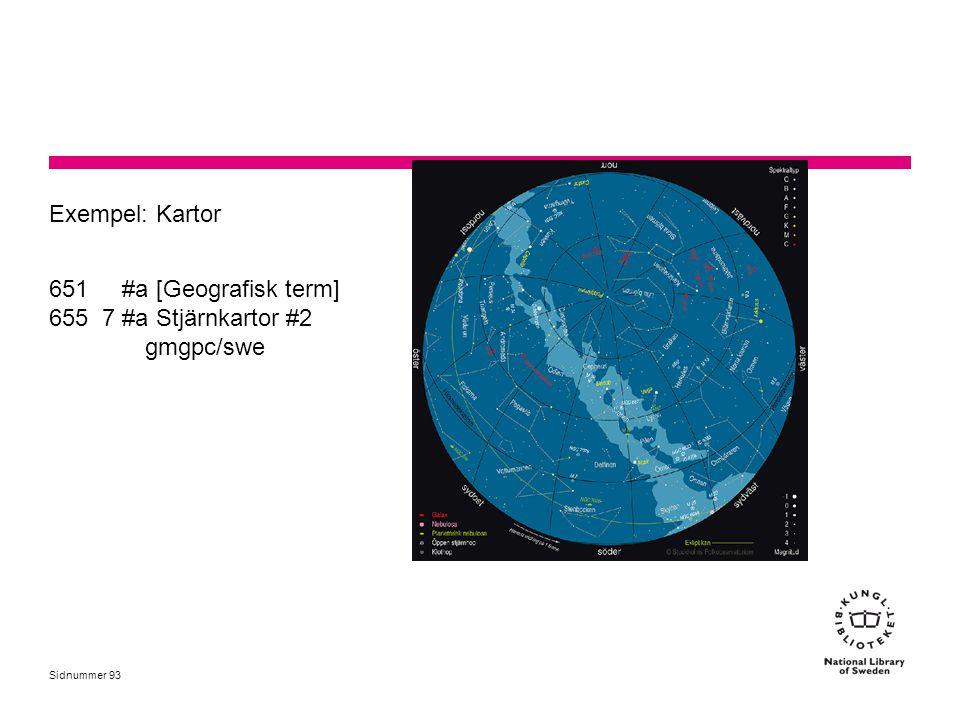Sidnummer Exempel: Kartor 651 #a [Geografisk term] 655 7 #a Stjärnkartor #2 gmgpc/swe 93