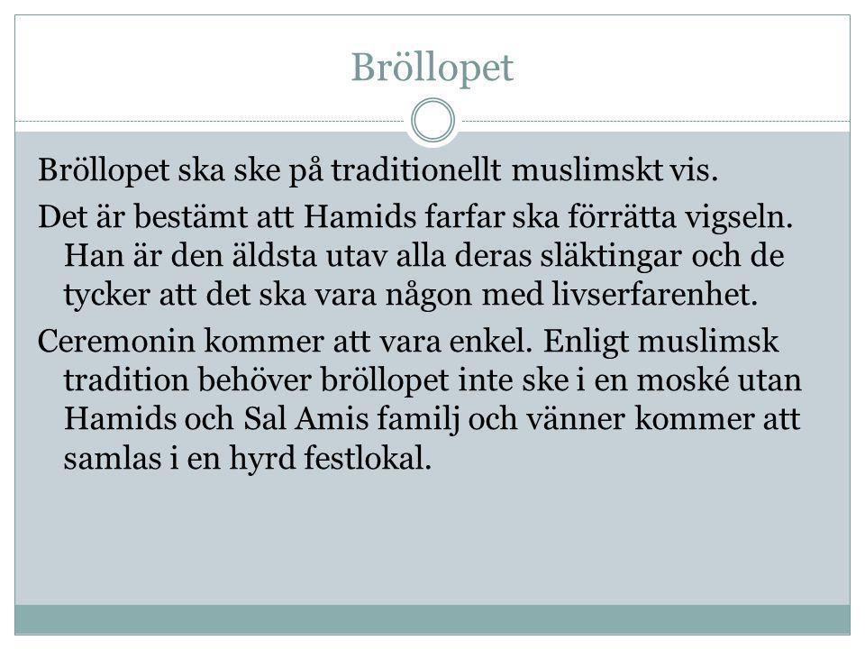 Bröllopet Bröllopet ska ske på traditionellt muslimskt vis. Det är bestämt att Hamids farfar ska förrätta vigseln. Han är den äldsta utav alla deras s