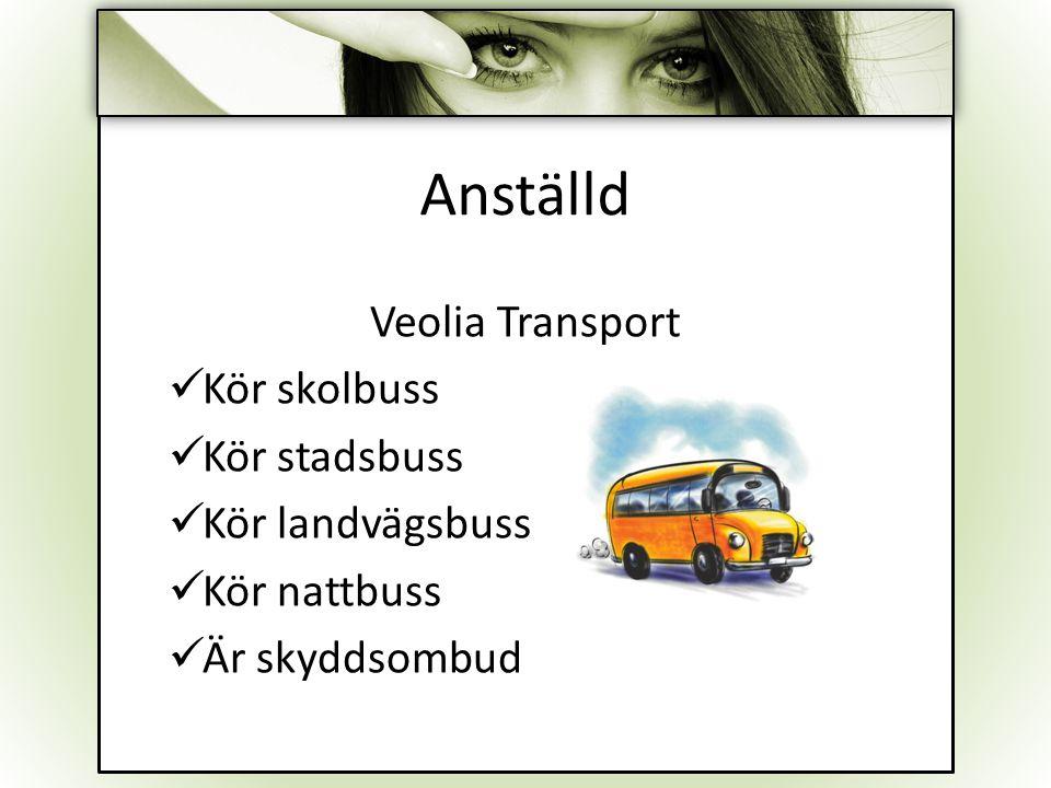 Anställd Veolia Transport Kör skolbuss Kör stadsbuss Kör landvägsbuss Kör nattbuss Är skyddsombud
