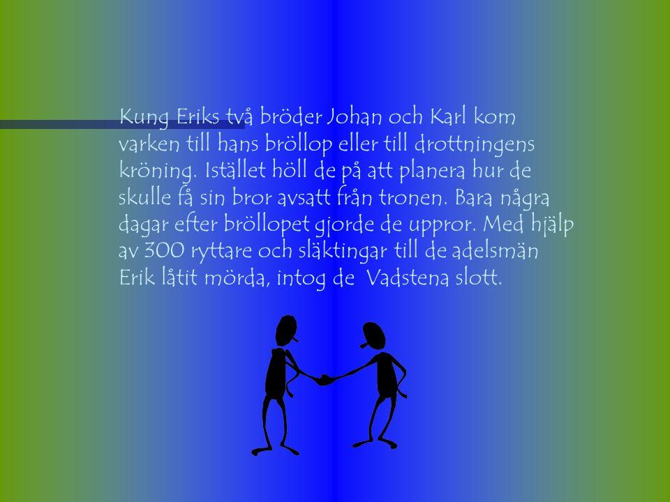 Kung Eriks två bröder Johan och Karl kom varken till hans bröllop eller till drottningens kröning.