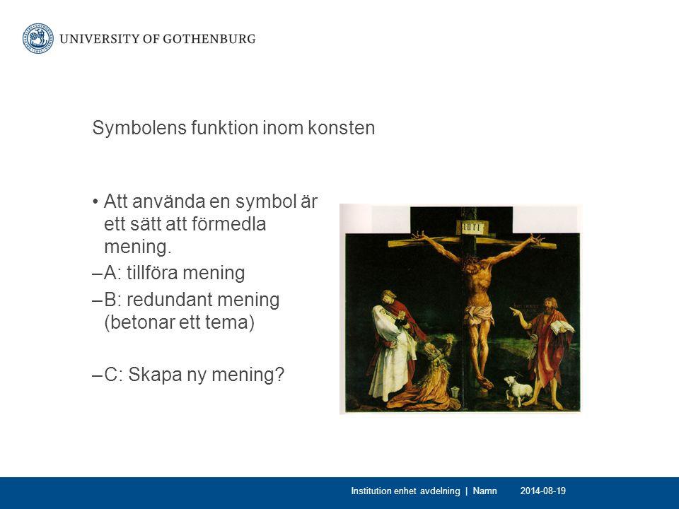 Symbolens funktion inom konsten Att använda en symbol är ett sätt att förmedla mening.