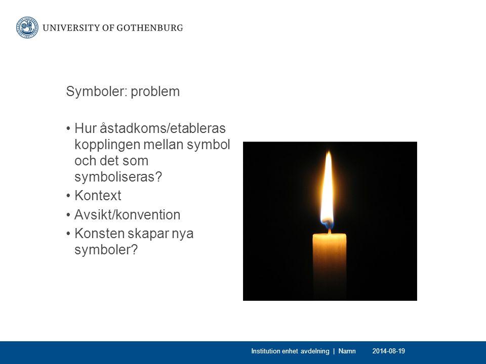 Symboler: problem Hur åstadkoms/etableras kopplingen mellan symbol och det som symboliseras.