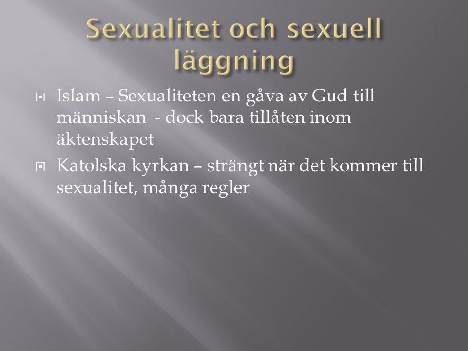  Islam – Sexualiteten en gåva av Gud till människan - dock bara tillåten inom äktenskapet  Katolska kyrkan – strängt när det kommer till sexualitet, många regler