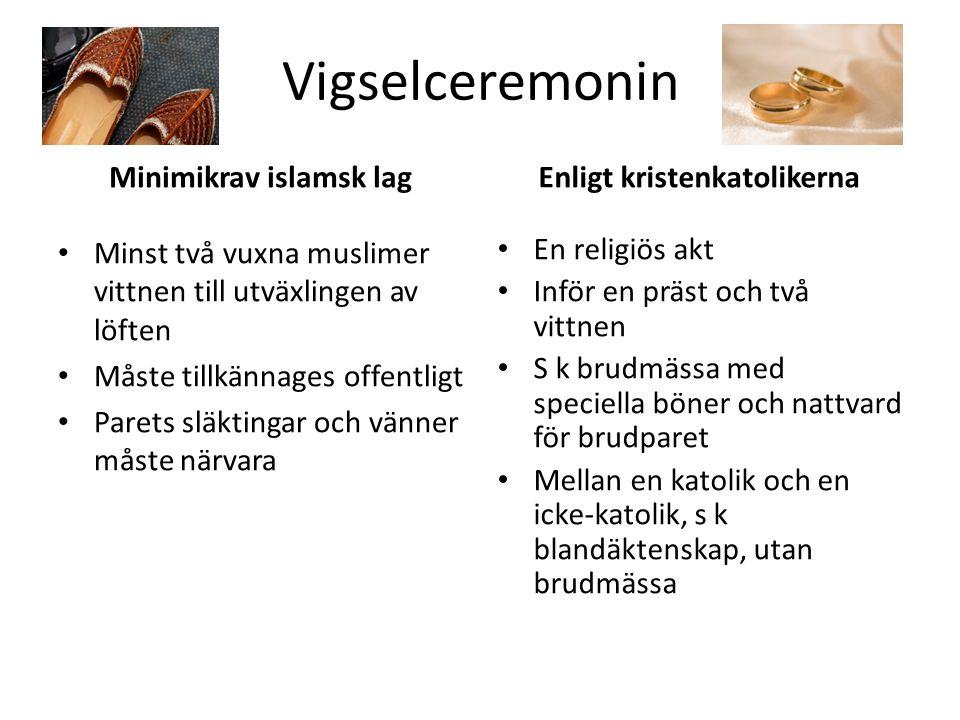 Vigselceremonin Minimikrav islamsk lag Minst två vuxna muslimer vittnen till utväxlingen av löften Måste tillkännages offentligt Parets släktingar och