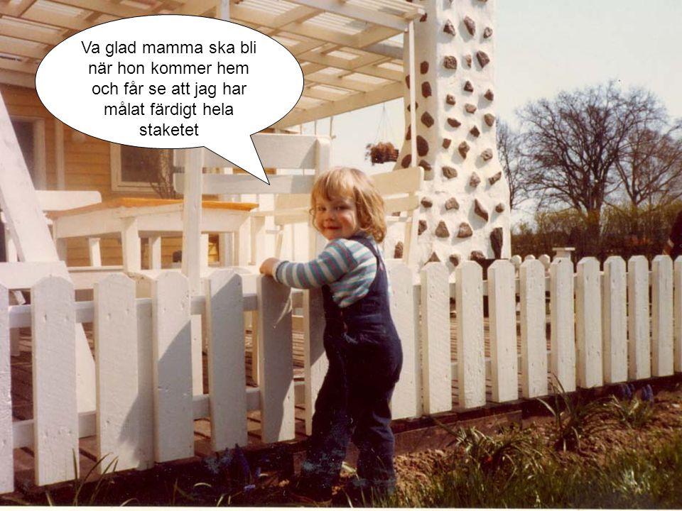 Va glad mamma ska bli när hon kommer hem och får se att jag har målat färdigt hela staketet