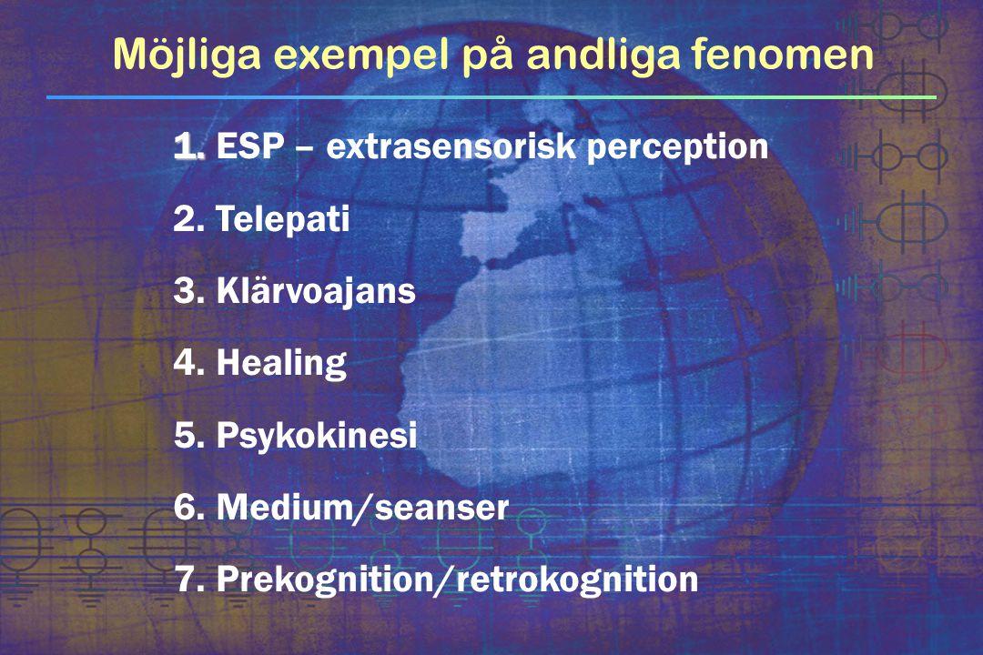 1. 1. ESP – extrasensorisk perception 2. Telepati 3. Klärvoajans 4. Healing 5. Psykokinesi 6. Medium/seanser 7. Prekognition/retrokognition Möjliga ex