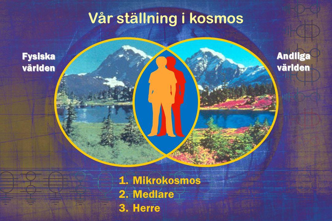 Vår ställning i kosmos 1. Mikrokosmos 2. Medlare 3. Herre Fysiska världen Andliga världen