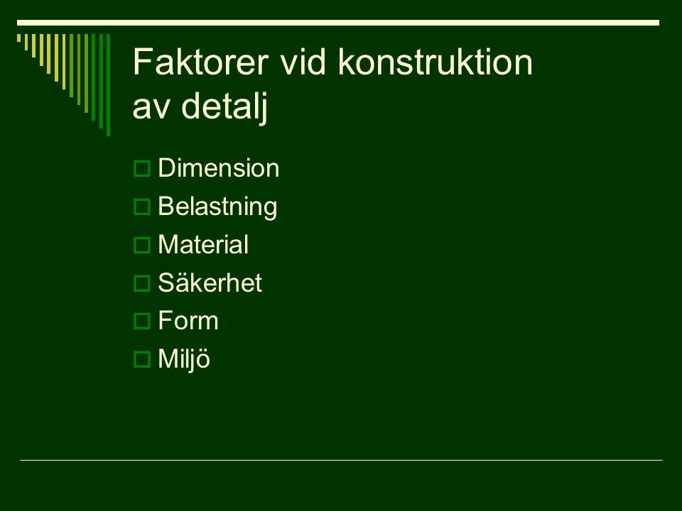 Faktorer vid konstruktion av detalj  Dimension  Belastning  Material  Säkerhet  Form  Miljö