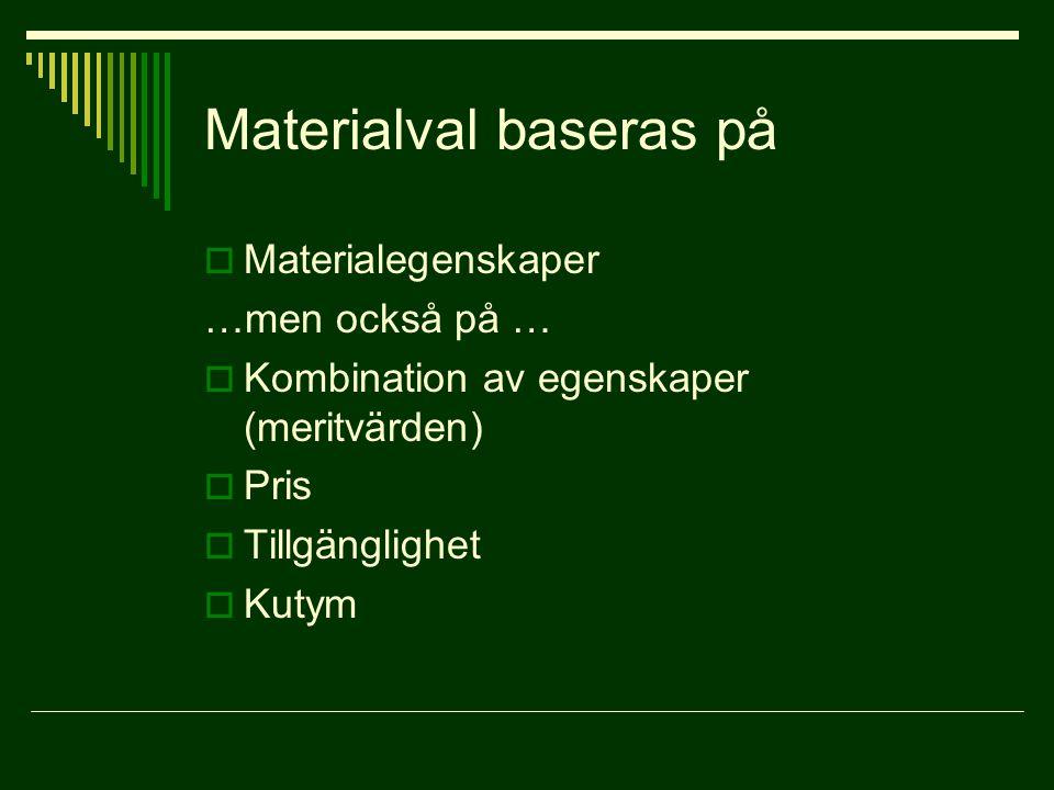 Materialval baseras på  Materialegenskaper …men också på …  Kombination av egenskaper (meritvärden)  Pris  Tillgänglighet  Kutym