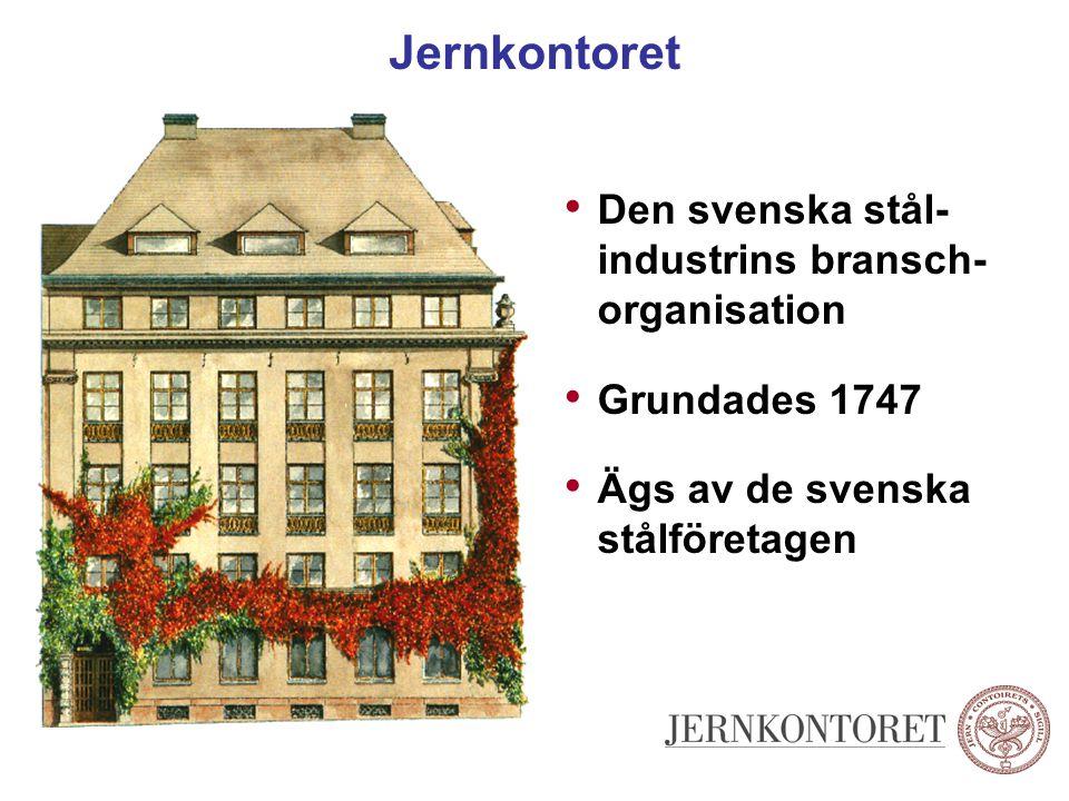 Jernkontoret Den svenska stål- industrins bransch- organisation Grundades 1747 Ägs av de svenska stålföretagen