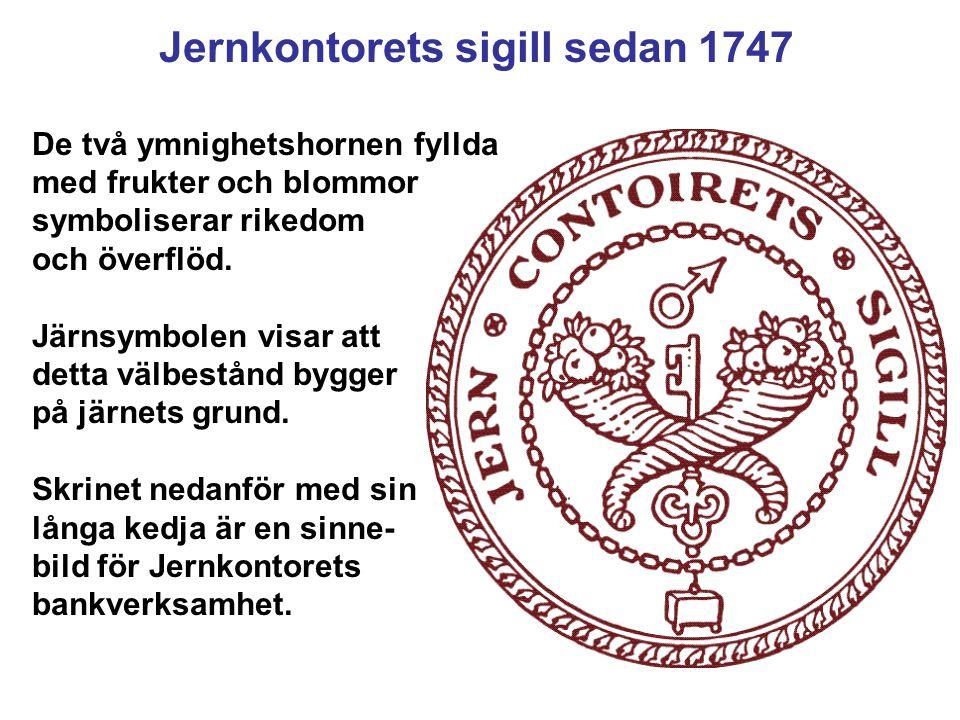 Jernkontorets sigill sedan 1747 De två ymnighetshornen fyllda med frukter och blommor symboliserar rikedom och överflöd. Järnsymbolen visar att detta