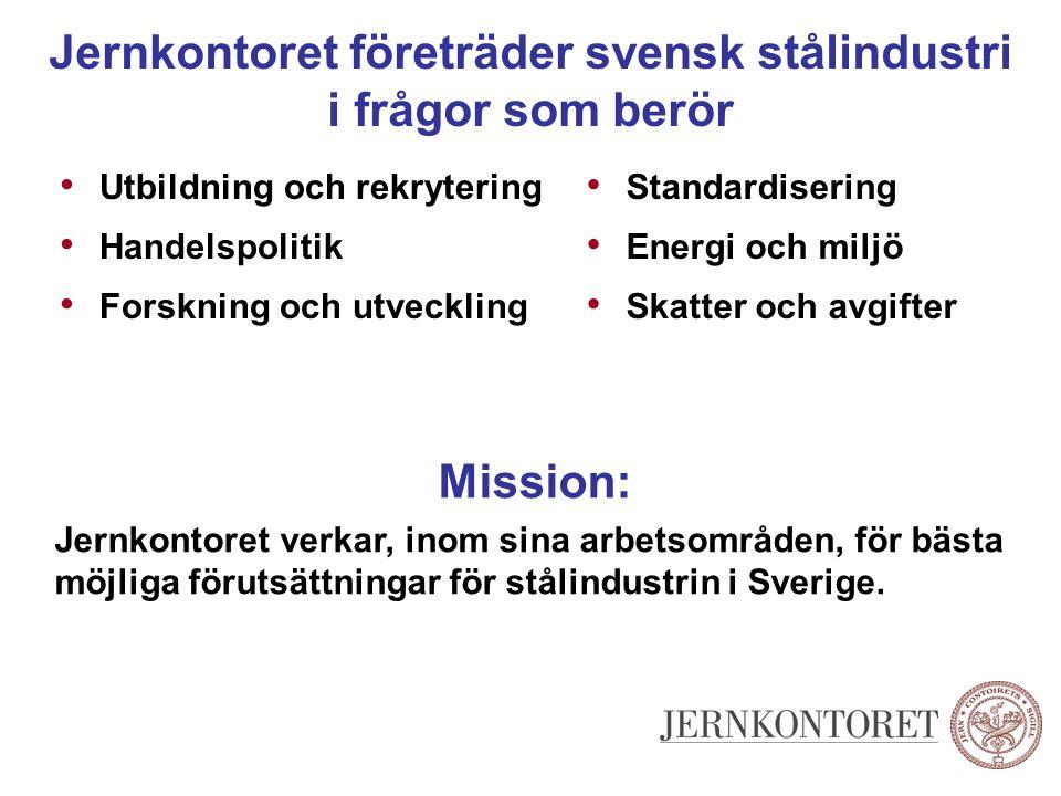 Jernkontoret företräder svensk stålindustri i frågor som berör Utbildning och rekrytering Handelspolitik Forskning och utveckling Standardisering Ener