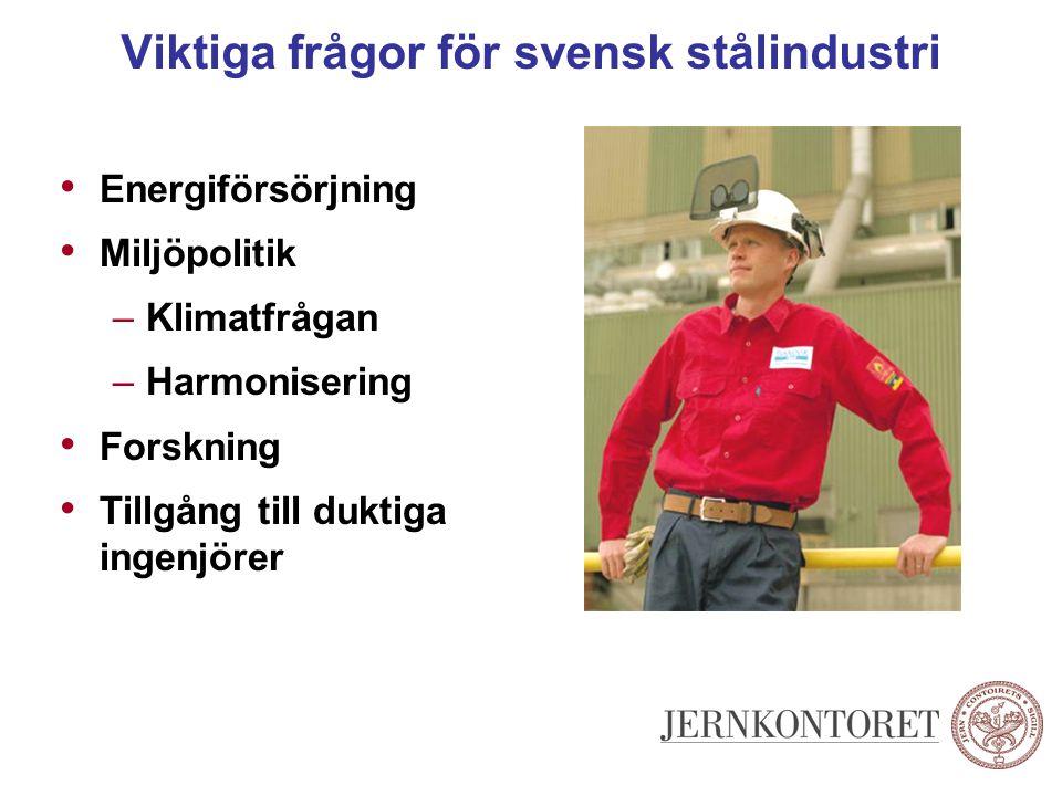 Viktiga frågor för svensk stålindustri Energiförsörjning Miljöpolitik –Klimatfrågan –Harmonisering Forskning Tillgång till duktiga ingenjörer