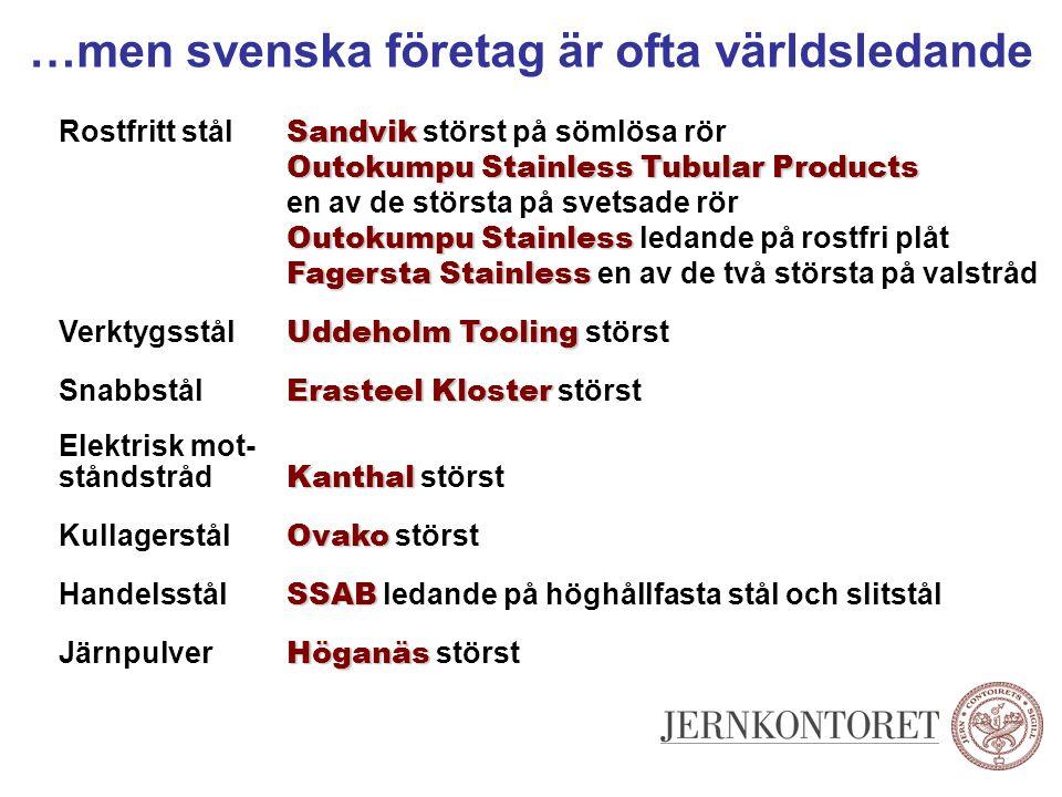 …men svenska företag är ofta världsledande Sandvik Rostfritt stål Sandvik störst på sömlösa rör Outokumpu Stainless Tubular Products Outokumpu Stainle