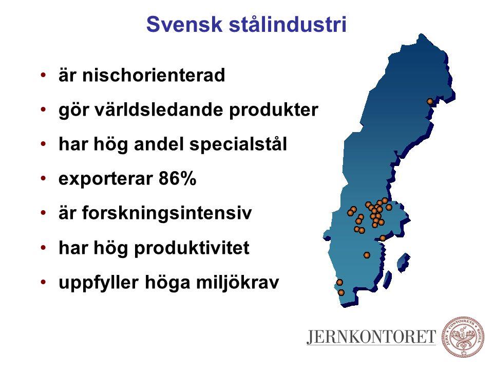 Svensk stålindustri är nischorienterad gör världsledande produkter har hög andel specialstål exporterar 86% är forskningsintensiv har hög produktivite