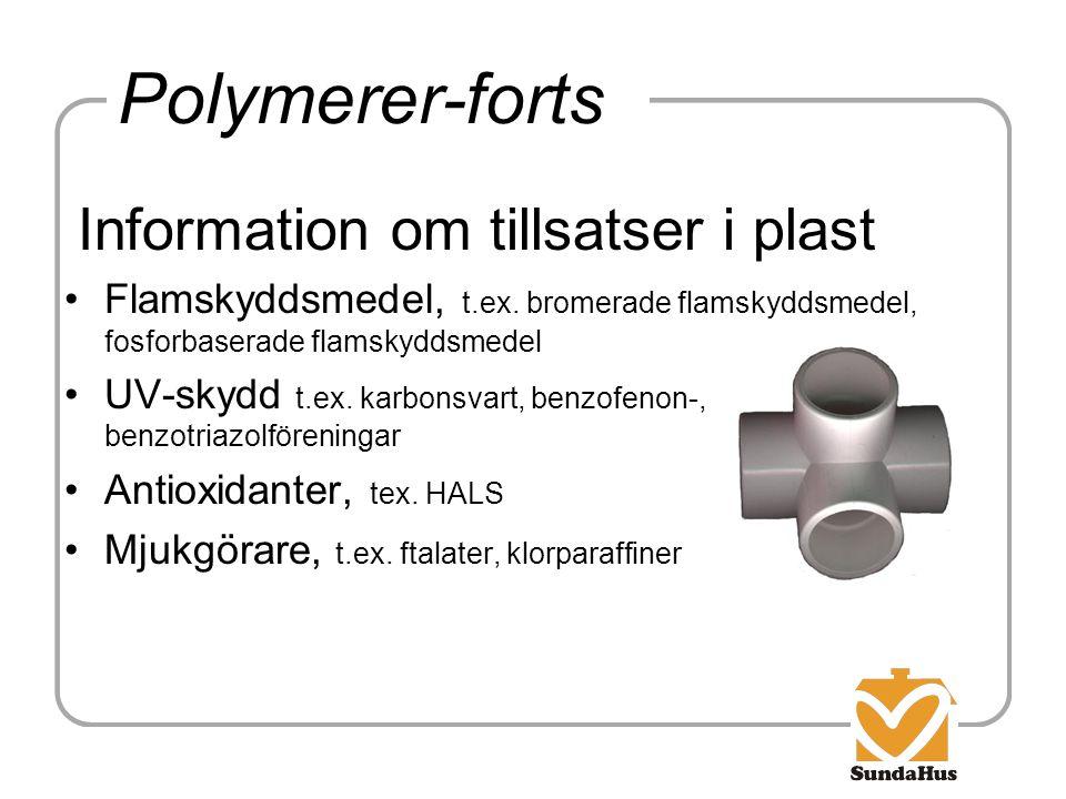 Polymerer-forts Information om tillsatser i plast Flamskyddsmedel, t.ex. bromerade flamskyddsmedel, fosforbaserade flamskyddsmedel UV-skydd t.ex. karb