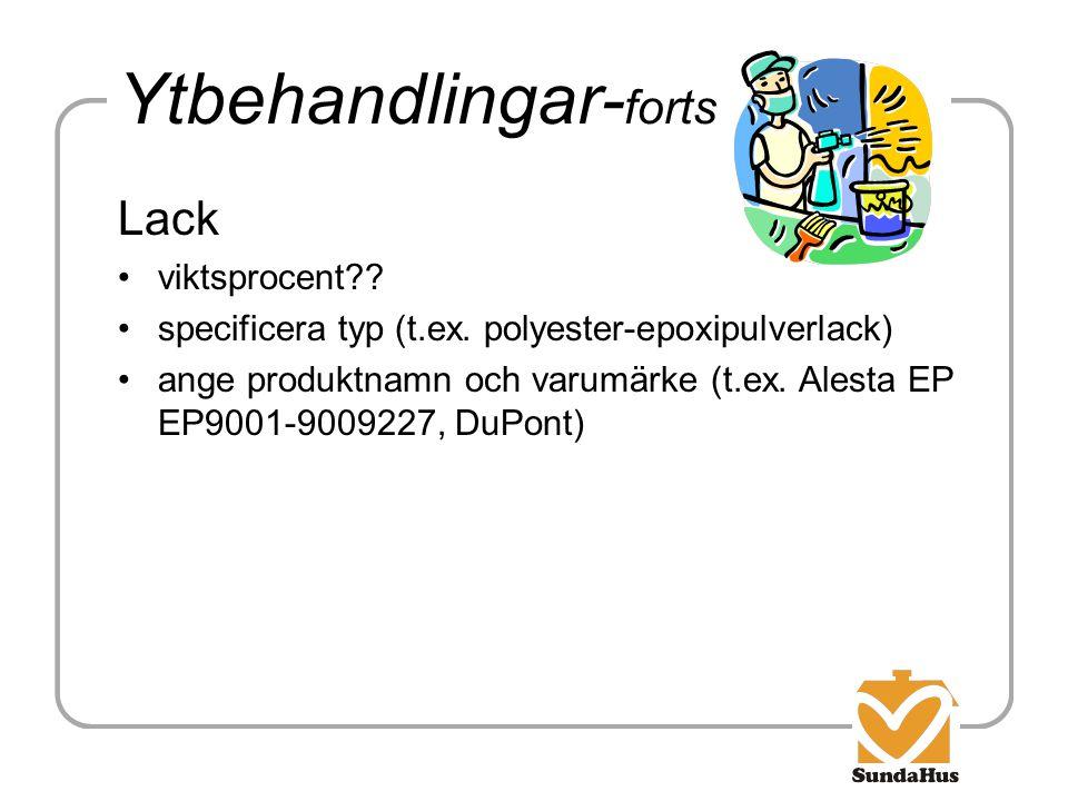 Ytbehandlingar- forts Lack viktsprocent?? specificera typ (t.ex. polyester-epoxipulverlack) ange produktnamn och varumärke (t.ex. Alesta EP EP9001-900