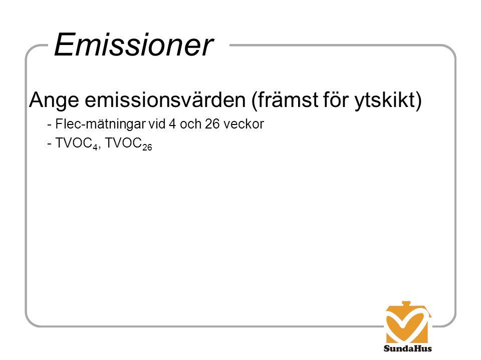 Emissioner Ange emissionsvärden (främst för ytskikt) - Flec-mätningar vid 4 och 26 veckor - TVOC 4, TVOC 26