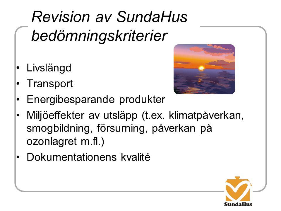 Revision av SundaHus bedömningskriterier Livslängd Transport Energibesparande produkter Miljöeffekter av utsläpp (t.ex. klimatpåverkan, smogbildning,