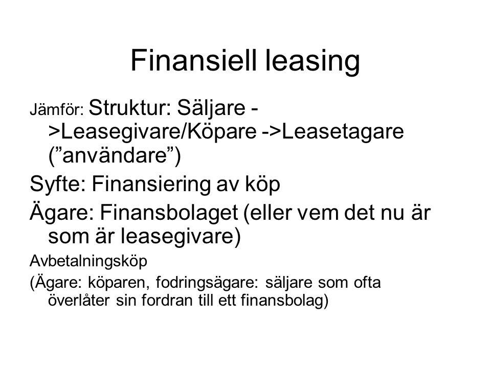 Finansiell leasing Jämför: Struktur: Säljare - >Leasegivare/Köpare ->Leasetagare ( användare ) Syfte: Finansiering av köp Ägare: Finansbolaget (eller vem det nu är som är leasegivare) Avbetalningsköp (Ägare: köparen, fodringsägare: säljare som ofta överlåter sin fordran till ett finansbolag)