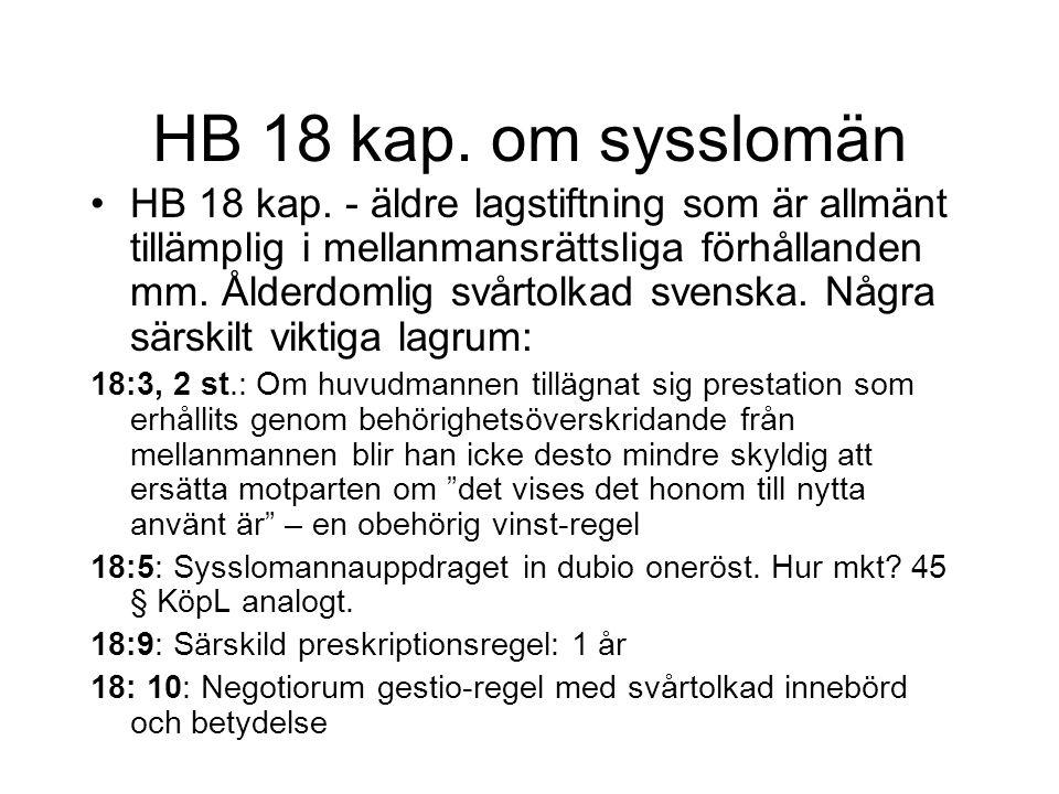 HB 18 kap.om sysslomän HB 18 kap.