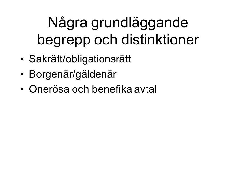 Några grundläggande begrepp och distinktioner Sakrätt/obligationsrätt Borgenär/gäldenär Onerösa och benefika avtal