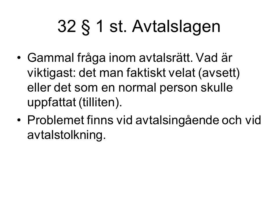 32 § 1 st.Avtalslagen Gammal fråga inom avtalsrätt.