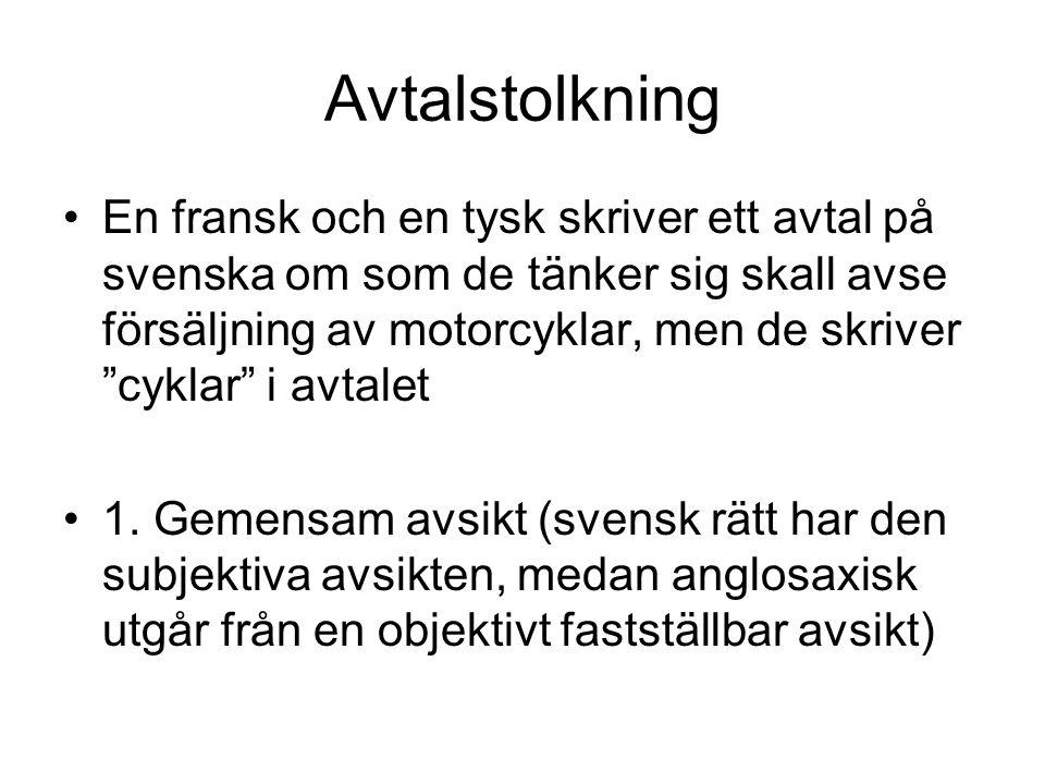 Avtalstolkning En fransk och en tysk skriver ett avtal på svenska om som de tänker sig skall avse försäljning av motorcyklar, men de skriver cyklar i avtalet 1.